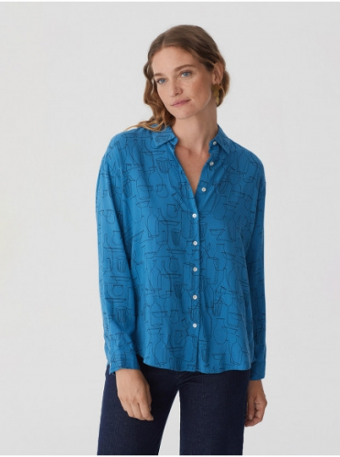 Nice Things Blouse Outline Objects Blue