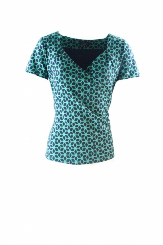 Zilch Cross Top Graphic Emerald