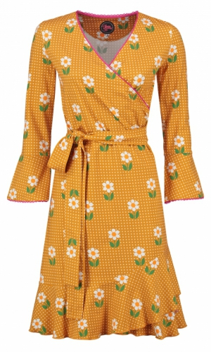 Tante Betsy Ruffle Wrap Dress Daisy Dot Gold