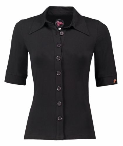 Tante Betsy Button Shirt Solid Viscose Black